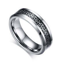 CELTIC KNOT CARBON FIBER INLAY TUNGSTEN CARBIDE RING