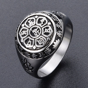 ANTIQUE SILVER AND GOLD BUDDHIST LOTUS MANTRA RING
