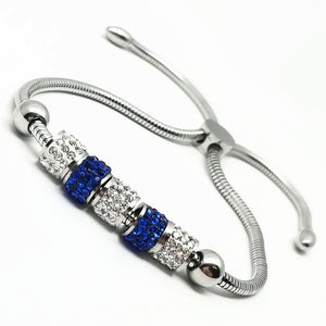 ELEGANT METAL STRING ADJUSTABLE SLIDE LOCK GEM-STUDDED BEADS BRACELET
