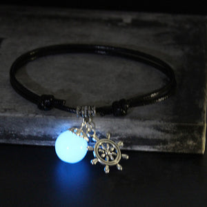KNOTTED STRING GLOWING BALL NAUTICAL PENDANT BRACELET