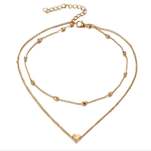 DOUBLE LAYER SILVER & GOLD HEART PENDANT CHOKER NECKLACE