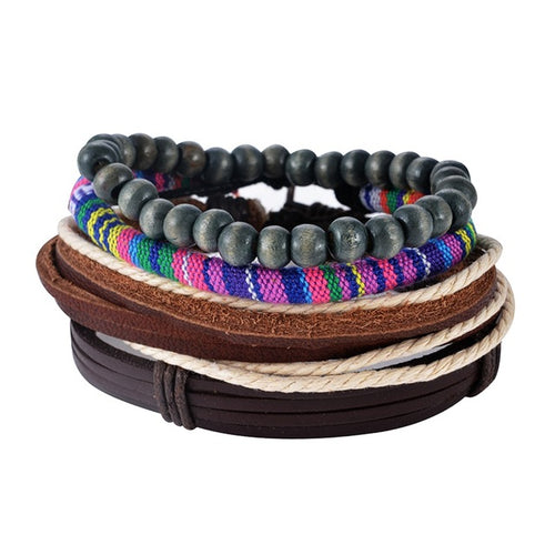 CLASSIC COLORFUL LEATHER AND BEADS STACKED BRACELETS [9 VARIANTS]