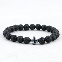 CHRISTIAN CROSS LAVA AND ONYX STONES BEAD BRACELET