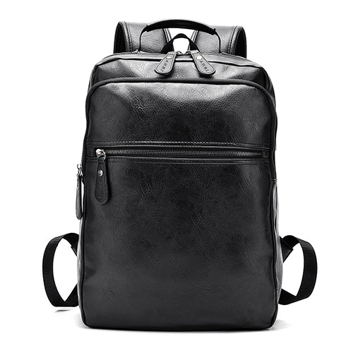 CASUAL BLACK LEATHER BUSINESS BACKPACK WITH USB SOCKET