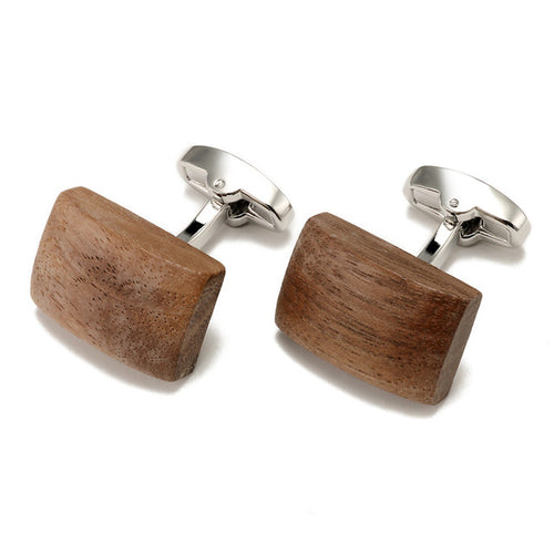 OVAL WALNUT STAINLESS STEEL INLAY CUFFLINK