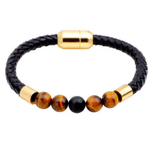 STYLISH BRAIDED LEATHER 7 CHAKRA STONES COMBINATION BRACELET