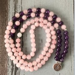 CUTE ROSE QUARTZ & AMETHYST GLASS BEADS PRAYER BRACELET