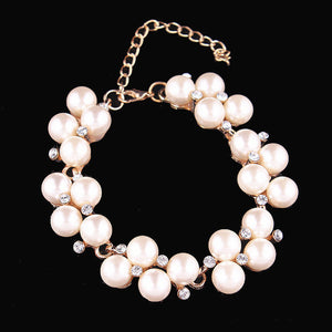 ELEGANT PEARL AND GEMS LINK CHAIN BRACELET