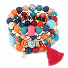CHARMING BOHEMIAN FASHION STONE BEADS TASSEL BRACELET [5 COLORS]