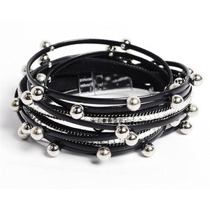 STYLISH RIVETED BEADS LEATHER MULTI-LAYER BRACELET [3 VARIATIONS]