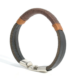 TRENDY LEATHER BRACELET WITH HOOK CLASP FOR MEN [2 COLORS]