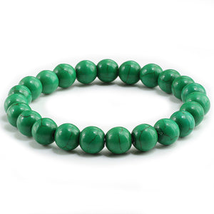 UNISEX 8MM NATURAL TEMPERED STONE BEADS CHARM BRACELETS [8 COLORS]