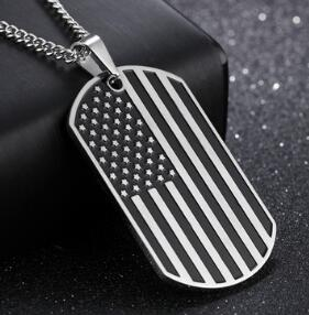 MEN'S AMERICAN FLAG DOG TAG PENDANT NECKLACE
