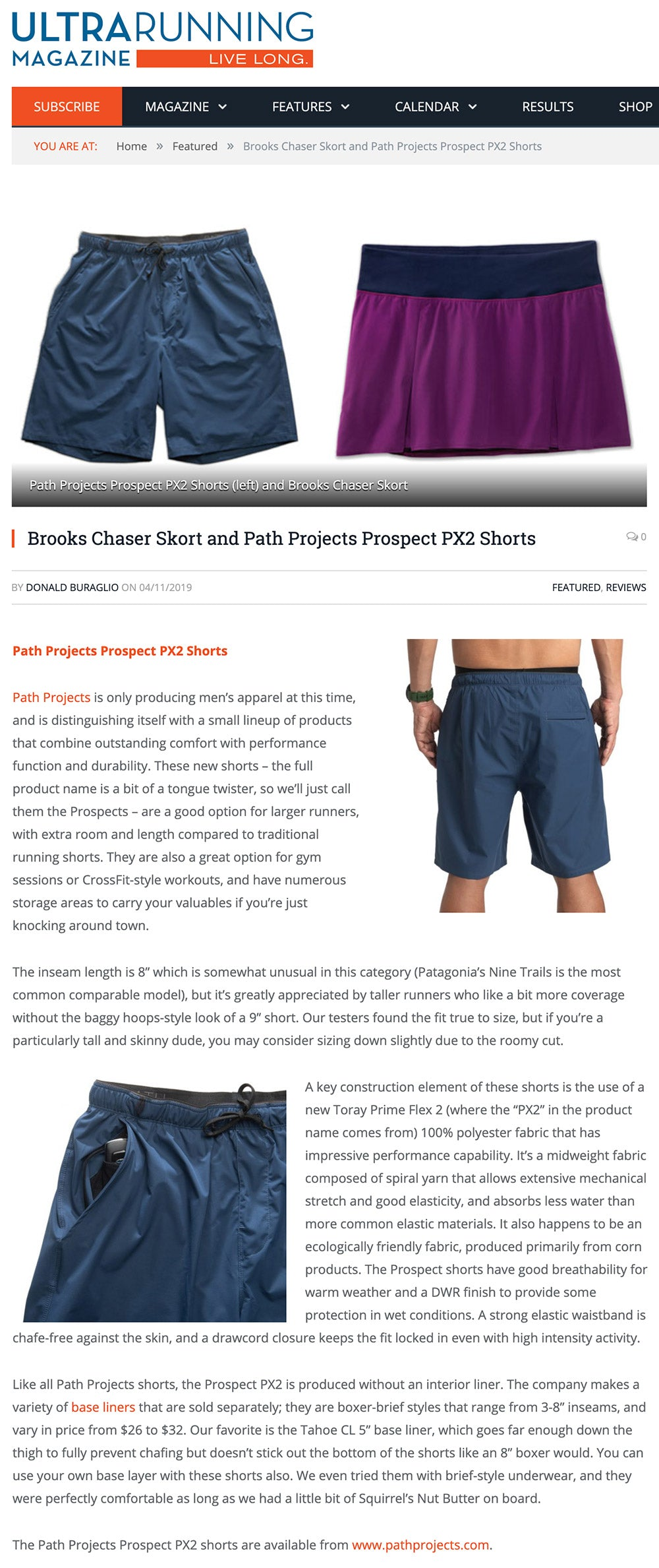 Prospect shorts featured on Ultra Running Magazine