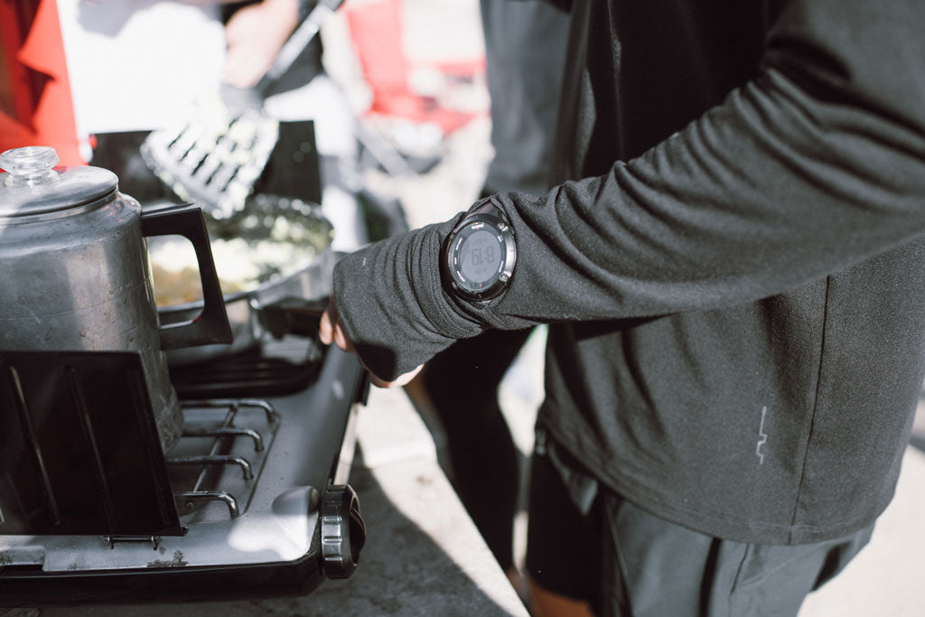 running shirt with watch opening
