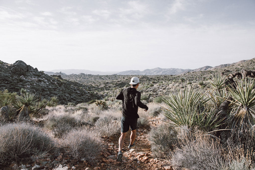 Billy Yang running in Joshua Tree