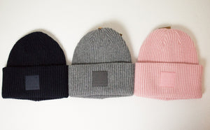CC Brand Solid Ribbed with Rubber Patch Beanie