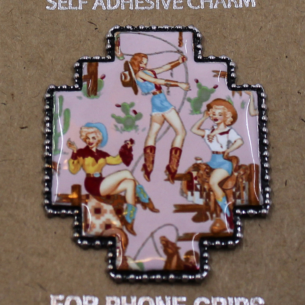 Metal Vintage Cowgirl Phone Grip Cover