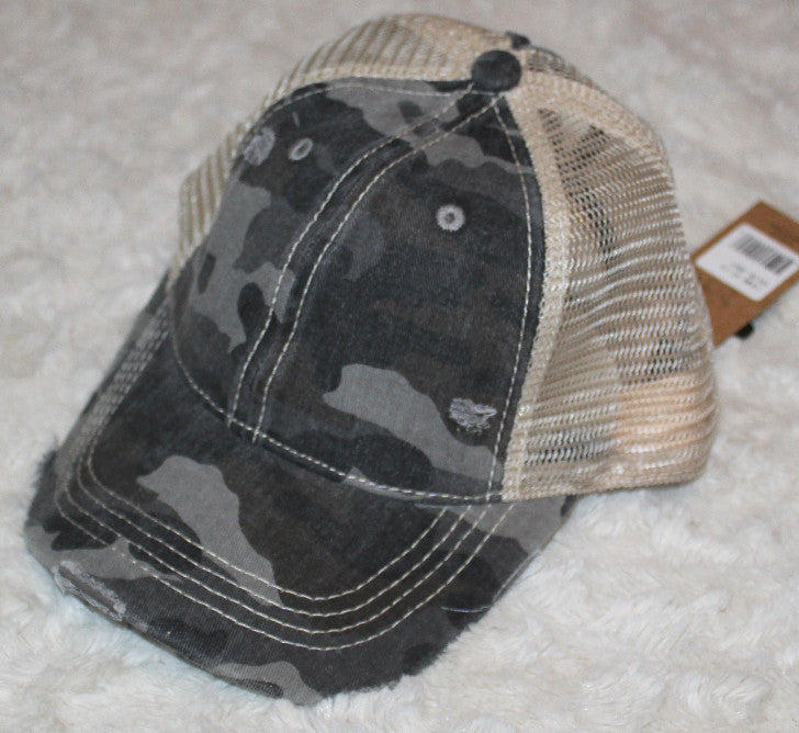High Ponytail CC Two Tone Distressed Ball Cap
