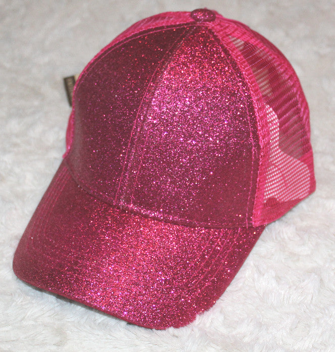 Kid's High Ponytail CC Glitter Ball Cap