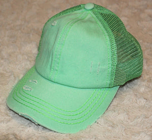 High Ponytail CC Distressed Ball Cap