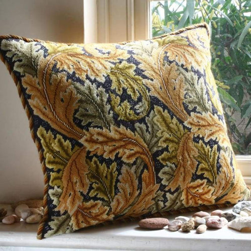 Acanthus Leaves (Gold On Grey Background) - Tapestry And Needlepoint