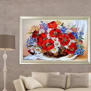 Full Drill - 5D DIY Diamond Painting Kits Dream Colorful Basket of Flowers - NEEDLEWORK KITS