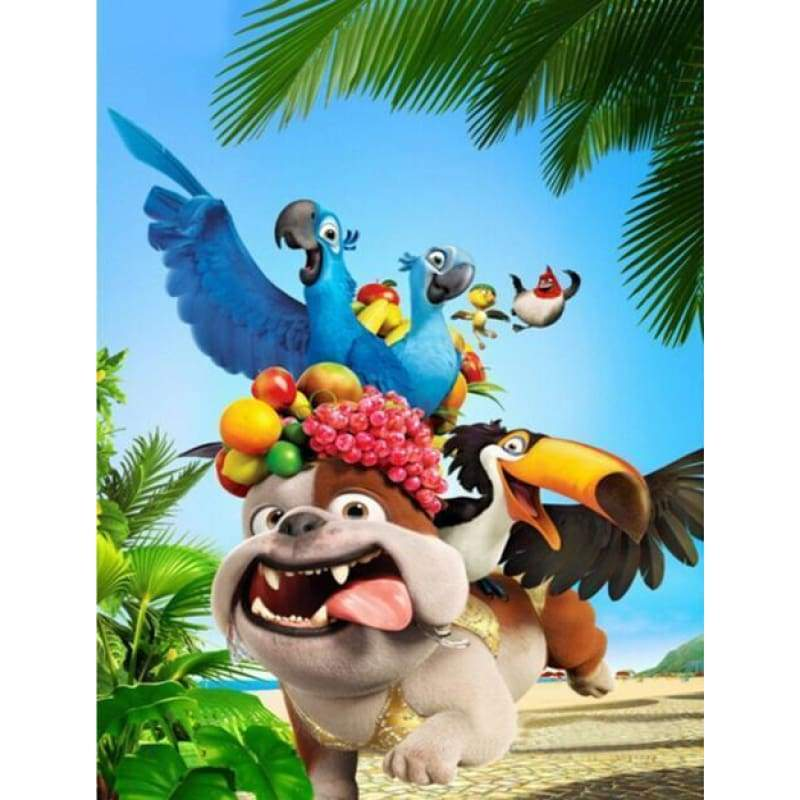 5D DIY Diamond Painting Kits Cartoon Funny Dog Bird Parrots - 4