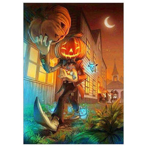 5D DIY Diamond Painting Kits Cartoon Halloween Evil Pumpkin - 444