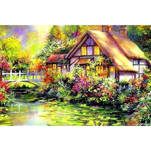 5D DIY Diamond Painting Kits Cartoon Landscape Cottage - 4