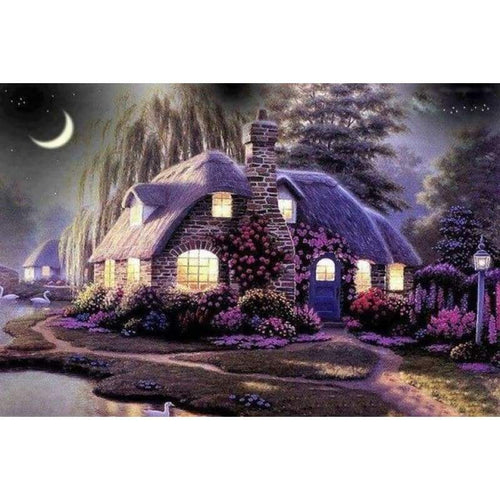 5D DIY Diamond Painting Kits Cartoon Landscape Natural Cottage - 4