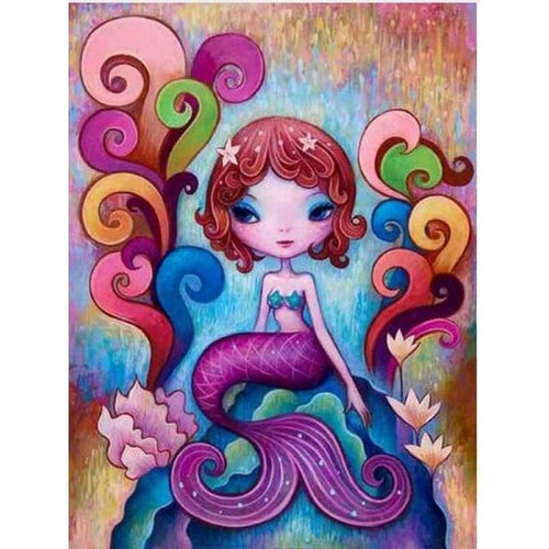 5D DIY Diamond Painting Kits Cartoon Mermaid Girl - 4