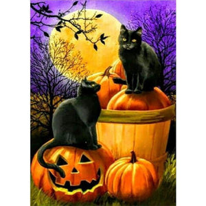 5D DIY Diamond Painting Kits Cartoon Pumpkin Black Cats - 3