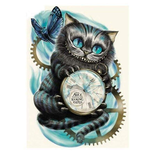 5D DIY Diamond Painting Kits Cartoon Bizarred Cat Clock - 4