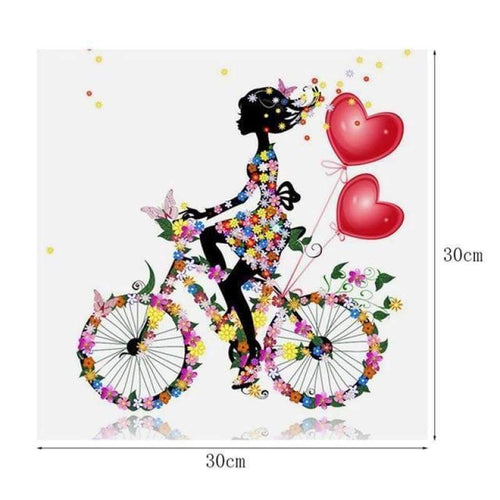 5D DIY Diamond Painting Kits Cartoon Butterfly Girl Bicycle