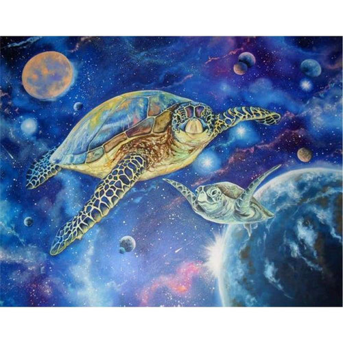5D DIY Diamond Painting Kits Cartoon Dream Turtle Universe - 2