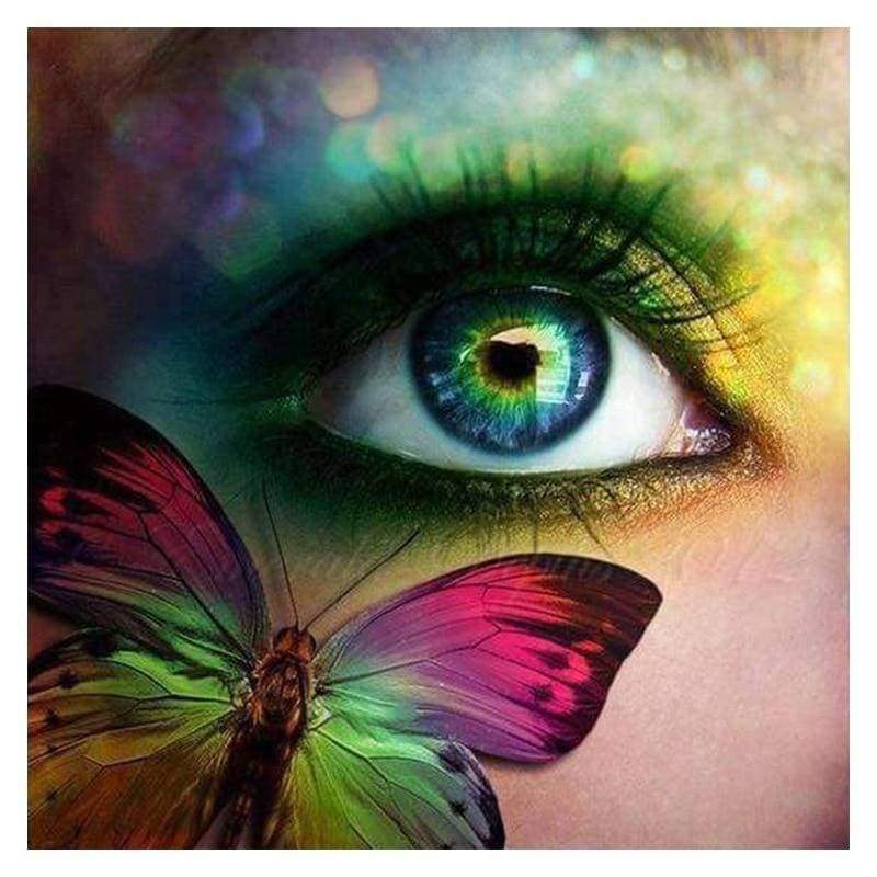 Full Drill - 5D DIY Diamond Painting Kits Dream Colored Beautiful Eyes And Butterfly - NEEDLEWORK KITS