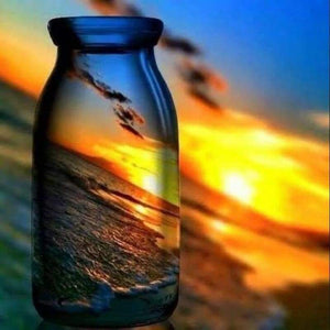 Full Drill - 5D DIY Diamond Painting Kits Dream Colorful Bottles Sunset Landscape - NEEDLEWORK KITS