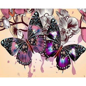 Full Drill - 5D DIY Diamond Painting Kits Dream Colorful Butterfly Flowers - NEEDLEWORK KITS