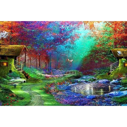 5D DIY Diamond Painting Kits Dream Landscape Nature Forest Cottage - 4