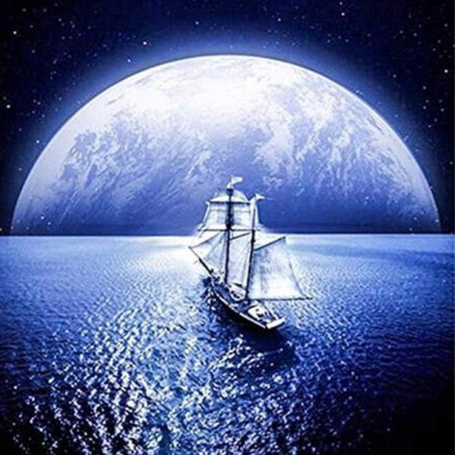 5D DIY Diamond Painting Kits Dream Moon Landscape Ship Sailing In the Sea