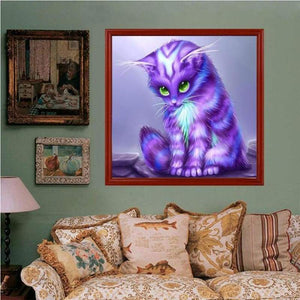 Dream Lavender Little Cat Diy Full Drill - 5D Cross Stitch Diamond Painting Kits VM0039 - NEEDLEWORK KITS