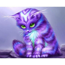 Load image into Gallery viewer, Dream Lavender Little Cat Diy Full Drill - 5D Cross Stitch Diamond Painting Kits VM0039 - NEEDLEWORK KITS