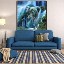 Load image into Gallery viewer, 2019 Dream Lonely Wolf Waterfall  Diy 5d Diamond Embroidery Wall Decor VM1038 - NEEDLEWORK KITS