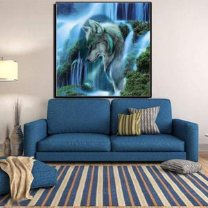 2019 Dream Lonely Wolf Waterfall  Diy 5d Diamond Embroidery Wall Decor VM1038 - NEEDLEWORK KITS