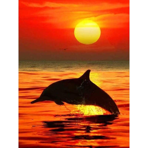 2019 Dream Natural Sunset Dolphin 5d Diy Diamond Painting Kits VM9691 - 5