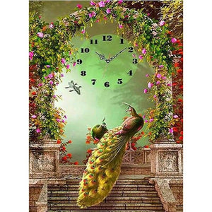 Dream Special Animal Peacock Clock Full Drill - 5D Diy Diamond Painting Kits VM8162 - NEEDLEWORK KITS