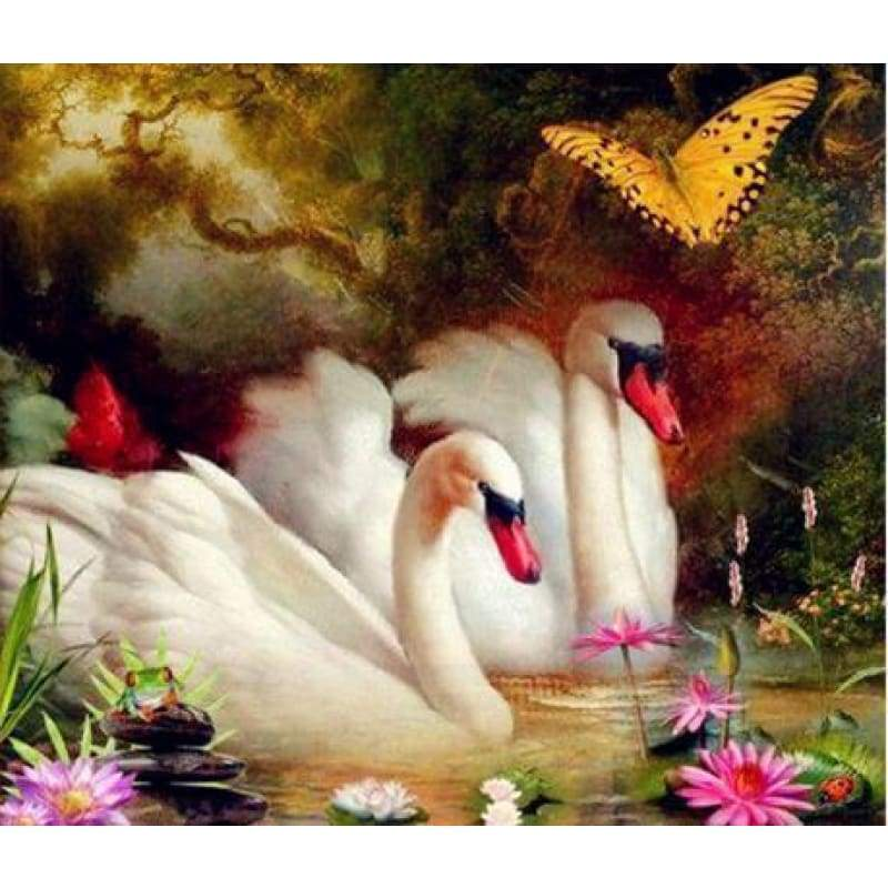 Dream Square Diamond Swan Wall Decor Full Drill - 5D Diy Diamond Painting Kits VM7355 - NEEDLEWORK KITS