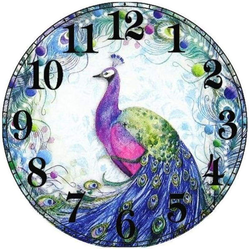 2019 Full Drill 5D DIY Diamond Painting Peacock Clock Cross Stitch Mosaic Kits - Z0