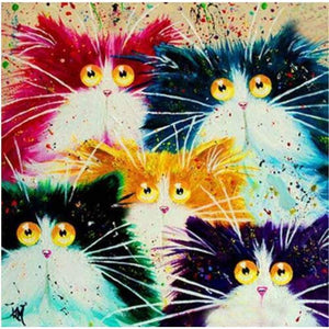 2019 Full Drill Square Modern Art Funny Cats 5D DIY Diamond Painting Kits VM3738